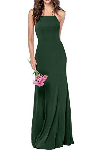 Gorgeous Bride Modisch Träger Lang Etui Chiffon Brautjungfernkleider Partykleider 2017 Damen Festlich Abendkleider Lang Cocktailkleider Ballkleider Dunkelgrün