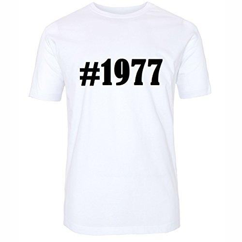 T-Shirt #1977 Hashtag Raute für Damen Herren und Kinder ... in den Farben Schwarz und Weiss Weiß