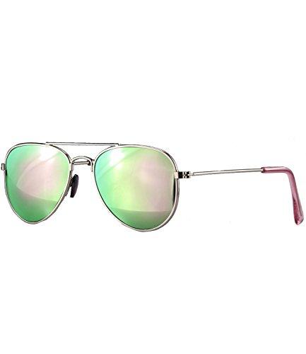 Caripe Kinder Pilotenbrille verspiegelt Metall Sonnenbrille Retro Jungen Mädchen - pil (One Size,...