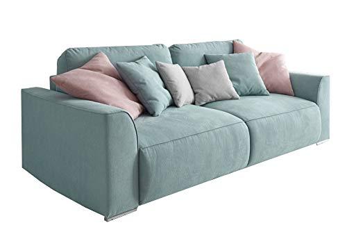 Modernes Design Big Sofa WEEKEND aquamarin Schlaffunktion mit Bettkasten und Kissen (Sofa Big)