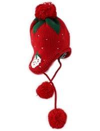 BONAMART ® Kids Baby Kinder Mädchen Erdbeere Strawberry Junge Mütze Hüte Hut Cap Earmuff Wintermütze