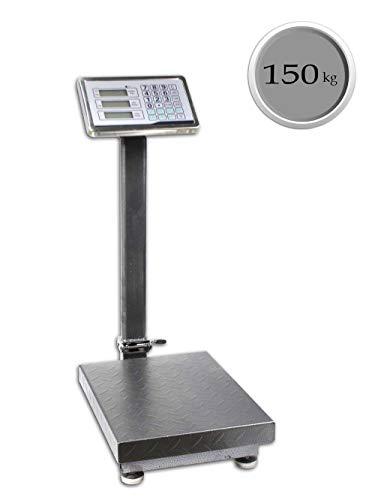 Vetrineinrete® Bilancia industriale con piattaforma con display digitale retroilluminato da terra ricaricabile peso 100 kg divisione 50g e 300 kg divisione 100g con braccio pieghevole (100 kg)