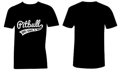 Pitbull Dog Like A Boss ★ V-Neck T-Shirt Männer-Herren ★ hochwertig bedruckt mit lustigem Spruch ★ Die perfekte Geschenk-Idee (01) schwarz