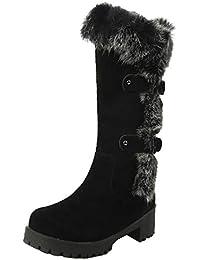Flache Stiefel mit Schnalle und Pelz Schneestiefel Damen Warm Gefüttert  Winterstiefel… 21657603e4
