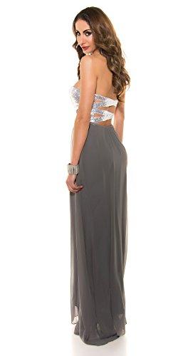 langes Ballkleid mit Pailletten Abiballkleid rückenfrei Abendkleid Cocktailkleid Party Kleid Grau