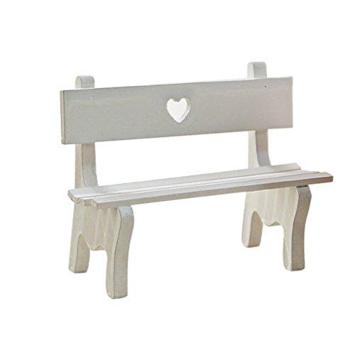 KESOTO Miniatur Gartenbank Gartenstuhl Liegestuhl Möbel für Puppenhaus, Auswahl - Weiß