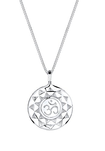 Elli Damen Schmuck Halskette Kette mit Anhänger Kreuz Yoga Mantra Om Schutzsymbol Silber 925 Länge 45 cm