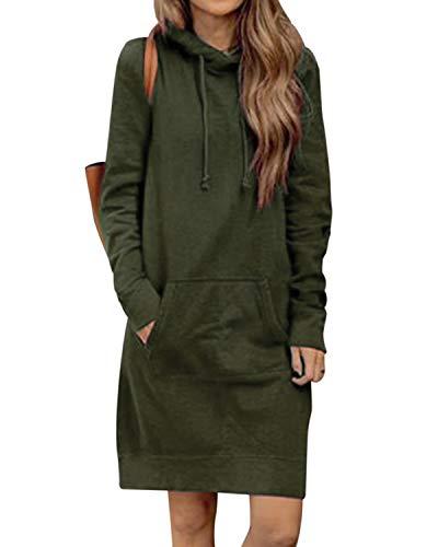 Kidsform Damen Herbst Hoodies Kapuzenpullover Sweatshirtkleid Hoodie Kleid Sweatshirt Sweatjacke Lang Pullover Winter Grün L -