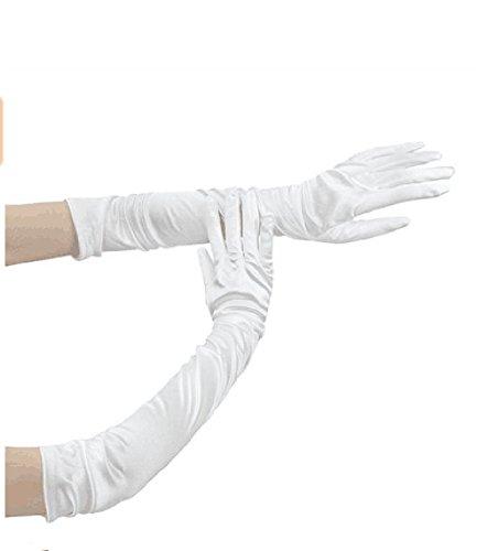 LLips Hochzeit Braut elastische Satin Ellenbogen Länge Mode Handschuhe Braut Damen Elegant Party Handschuhe (weiß) (Erwachsene Handschuhe Oper)