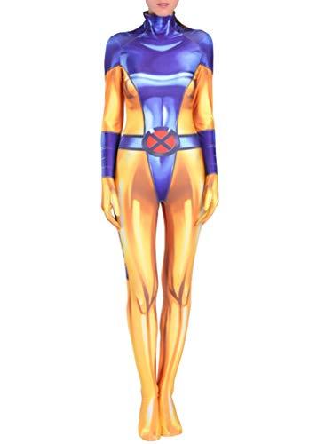 Yewei 2019 Film Phoenix Jean Kostüm Overall Damen Kinder Halloween Cosplay Jumpsuit Bodysuit (Blau, L) (Frankreich 2019 Halloween)