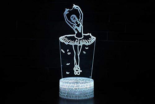 3D Illusion Lampe Optische Nachtlicht Ballett Visualisierung Amazing Optische Täuschung Touch Control Light 7 Farben Ändern Schreibtischlampen Für Kinderzimmer Decoration (Ballett Wohnungen Weichen)