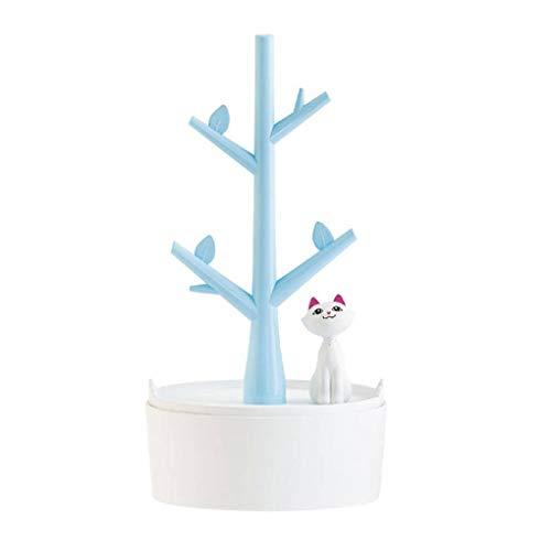 Mengonee Gato de la Historieta del árbol de la joyería del Estante de exhibición niñas Pulsera del Soporte del Collar de Cadena Pendientes Organizador