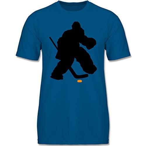 Sport Kind - Eishockeytorwart Towart Eishockey - 134-146 (9-11 Jahre) - Royalblau - F140K - Jungen T-Shirt