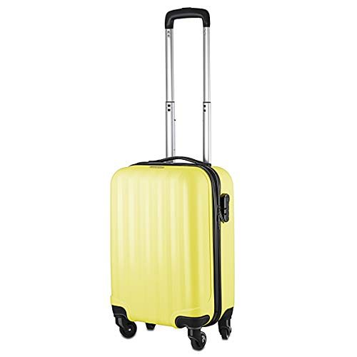 Fun Luggage Multi Coloured Cabin Bag | Carry On Flight Case Wheels Hard | Ryanair Easyjet Flybe (Pineapple Yellow)
