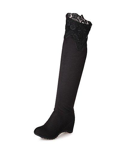 Veloursleder-wedge-stiefel (XZZ/ Damenschuhe - Stiefel - Kleid / Lässig - Spitze / Kunst-Veloursleder - Keilabsatz - Wedges / Rundeschuh / Modische Stiefel - Schwarz , black-us5 / eu35 / uk3 / cn34 , black-us5 / eu35 / uk3 / cn34)