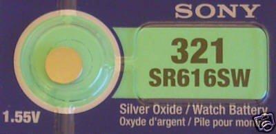 Sony 321 SR616SW SB-AF Uhrenbatterie / Knopfzelle (1,55 V, Silber-Oxyd), 1 Stück