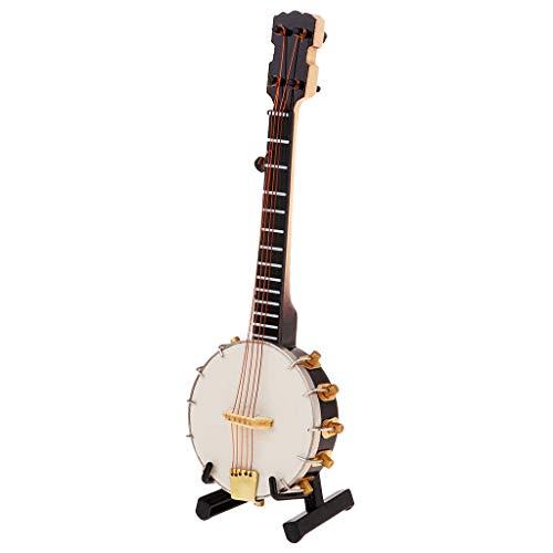 B Blesiya 1/6 Mini Sousaphon Saxophon Banjo Modell Geschenk Ornament - Banjo (Banjo Spielzeug)