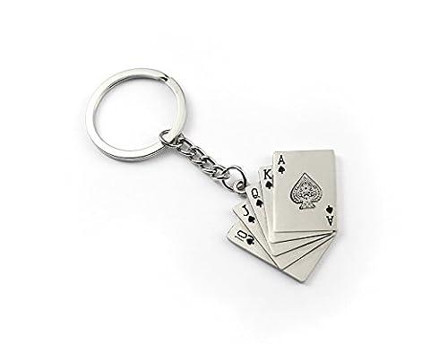 Poker Hand Playing Cards Royal Flush Keyring - Metal Keychain