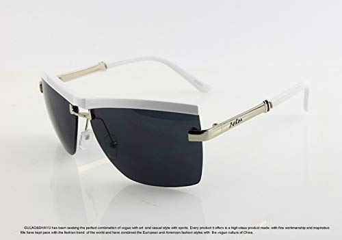 LKVNHP Hochwertige halbrandlose Sonnenbrille Vintage Classic Uv400 Helle übergroße Sonnenbrille Frauen MarkendesignerOculos WTYJ158 weiß
