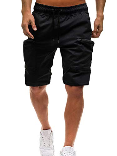 s Camouflage Kurze Hose Herren Cargo Shorts Bermuda Short Herren Sweatshort Sportshorts Freizeit Laufen Regular Fit C Schwarz X-Small ()