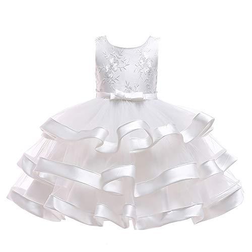 Yfch abiti per cerimonia bambine ragazza matrimonio damigella bimba pizzo bowknot ricamo vestiti elegant comunione festival partito, bianco, 140/9-10 anni