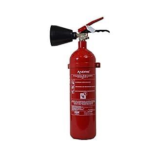 Feuerlöscher 2 kg CO² Kohlendioxid   EDV geeignet   EN 3 + ANDRIS® Prüfnachweis mit Jahresmarke inkl. ISO-Symbolschild & GRATIS Textschild,Für EDV'