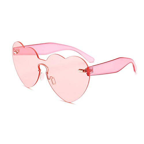 Siwen Neue Übergröße Sonnenbrille Herz Eyewear Bonbonfarben Für Frauen Mode Randlose Shades Männer Klar Rosa Objektiv Gläser Uv400,Rosa
