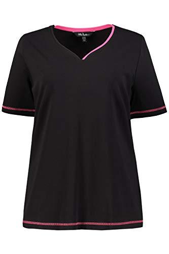Ulla Popken Damen große Größen bis 64, Shirt, Basic, zweifarbiger Herzausschnitt, Nähte in Kontrastfarbe, Halbarm, schwarz 46/48 721028 10-46+