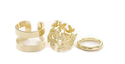 Shine Trails Artificial Golden Knuckle casual mid finger Rings - 3 pcs.