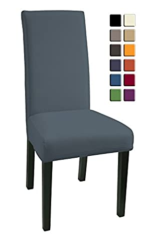 SCHEFFLER-HOME Mia Microfiber Chaircovers 2 pieces, Stretch Chair Cover, Bi-elastic modern Slipcover, Decor Lycra fabric Protective Cover with elastic band, universal nosefitting by spandex, elastic Span-Cover, easy to clean and durable - Gray
