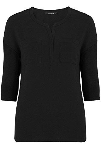 ex-stores-ladies-womens-pocket-work-smart-loose-fit-blouse-top-black-bugundy-white-10-24-24-black