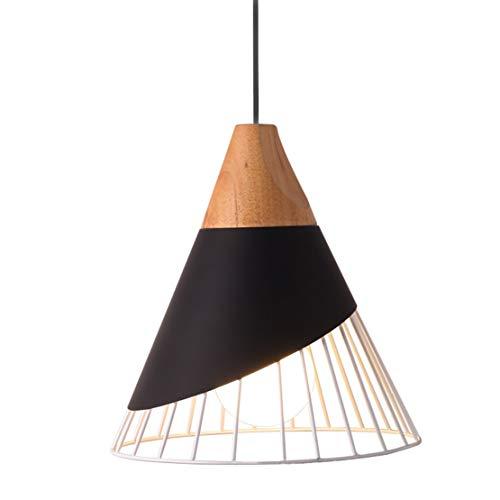 Semplice moderno illuminazione a sospensione lampada sospensione in metallo creativo forma di cono in legno massello luci a sospensione regolabili lampadari per sale da pranzo 1×e27 max40w Ø25cm nero