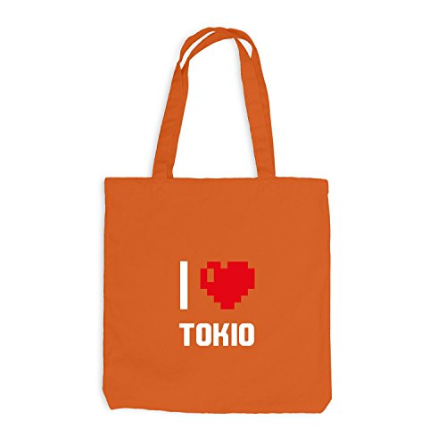 Sacchetto Di Juta - Amo Tokio - Giappone Viaggio Cuore Cuore Pixel Arancione
