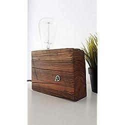 Lámpara De Madera de Mobila con Bombilla Decorativas de Filamento LED-Lámpara Edison-Estilo Vintage- Retro- Industrial-Boho.