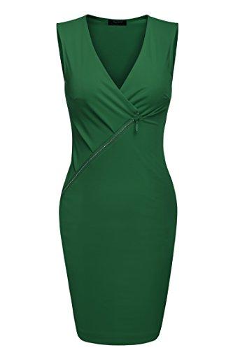 d6f38134d8c2 Etuikleid, Parabler Damen Sexy Ärmellos Minikleid Bodycon Kleider  Partykleid Sommerkleider Enges Kleid kurzarm (EU 36(Herstellergröße S),  Grün)