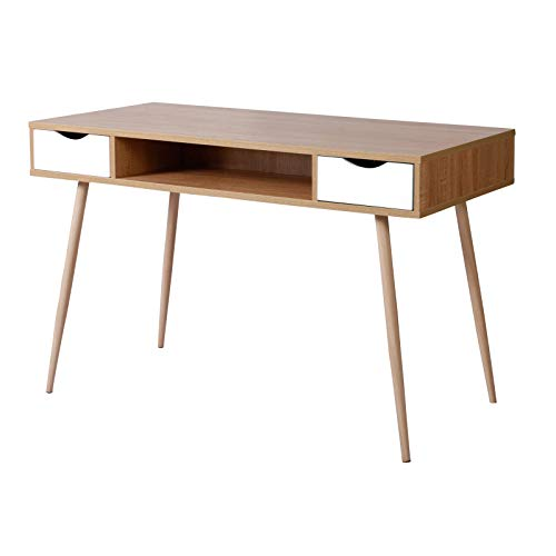 SITU SCD0017 Schreibtisch Arbeitstisch Computertisch PC Laptop Tisch mit 2 Schubladen und 1 offenen Fach Holz Stahl Hell Eiche (Fach Schreibtisch Holz)