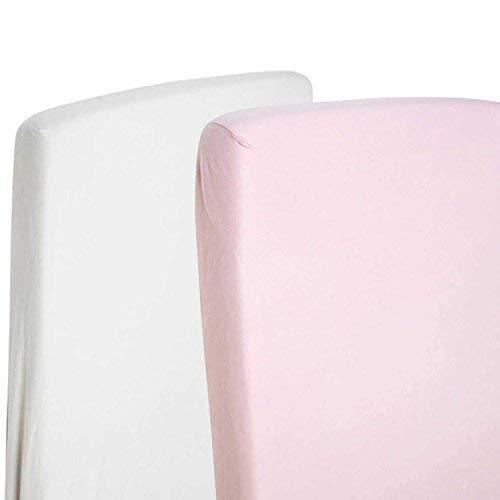 2x cama cuna 100% algodón Jersey Sábana Bajera ajustable de 140cm x 70cm, 1x blanco y 1x...
