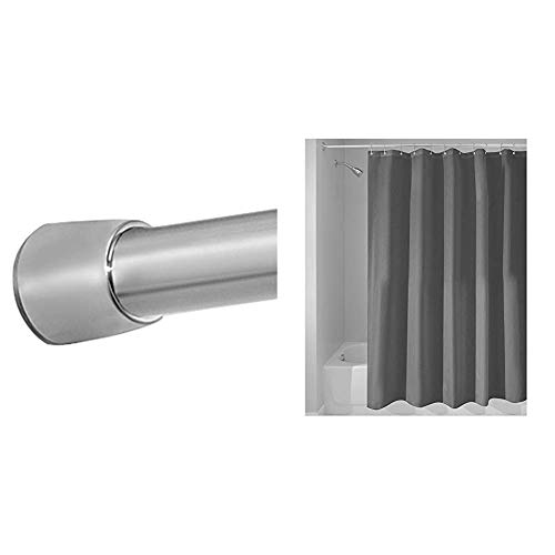 rge Tension Rod and Charcoal Shower Curtain Bundle ()