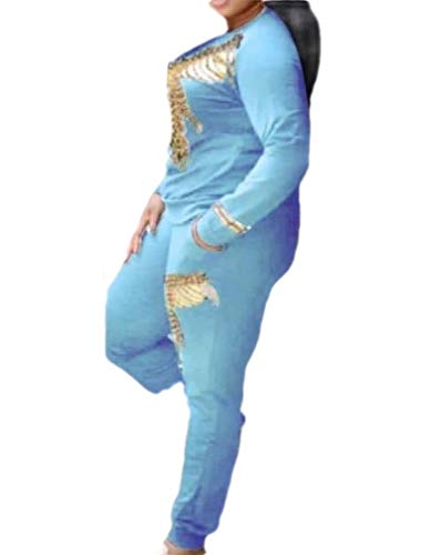 Energy Damen Zweiteiliger Stretch Casual Übergröße Active Jogginganzug Joggset Gr. US XX-Large, hellblau Velours-activewear-set