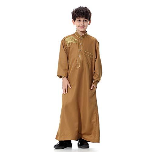 DressLksnf Mans Langärmelige Solider Saudi-arabischer islamische muslimische Dubai-Robe für Jungen Jugendlich Jungenroben der moslemischen arabischen nahöstlichen ()