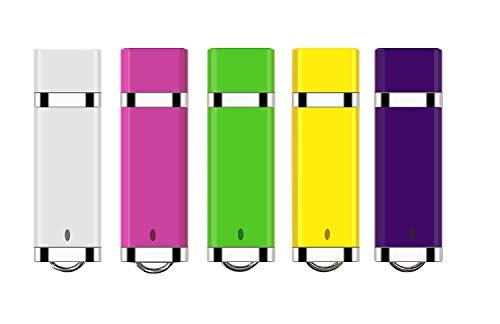 USB Stick, EAZOR 5 Bunt USB-Stick 16GB Stück Speicherstick 2.0 Mini Pendrive Pack (5 Mischfarben: Blau, Grün, Rosa, Violett, Gelb) (16GB*5FARBE) -