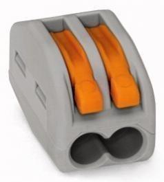 WAGO 222-412 2x0,08-2,5mm² grau Verbindungsklemmen mit Betätigungshebel 10 Stk