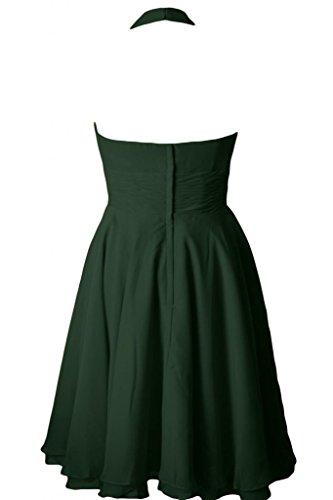 Sunvary Halter A linea Chiffon Homecoming abiti da damigella d'onore, lunghezza al ginocchio Verde scuro