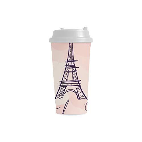 ichneter romantischer Eiffelturm kundenspezifischer Druck 16 Unze doppelwandiger Plastikisolationssport Wasser Flaschen Schalen Pendler Reise Kaffeetassen Studenten Frauen Milch ()