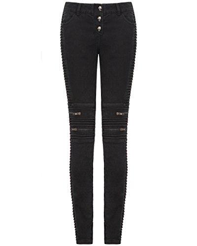 Punk Rave Donna Jeans Aderenti Biker Pantaloni Neri Dieselpunk Goth Punk Steampunk - Nero, XXL - UK Womens Size 16