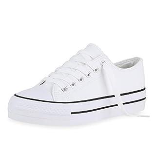 SCARPE VITA Damen Sneaker Low Bequeme Freizeit Schuhe Flats Turnschuhe Schnürer Basic Schnürschuhe 180507 Weiss White 37