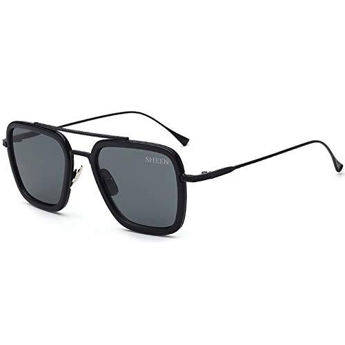 SHEEN KELLY Luxus Retro Sonnenbrille Tony Stark Brillen Quadratische Metallrahmen für Männer Frauen Klassiker Sonnenbrille Piloten Schwarz Linsen
