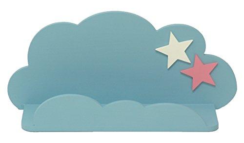 Afaeps -sonpó online afa18: mensola per bambini a forma di nuvola, per riporre libri, giocattoli, peluche, accessori, fatta a mano, produzione artigianale in legno, con stelle, colore: blu