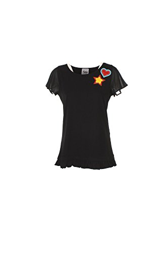 T-shirt Donna Twin-set L Nero Js72m2 1/7 Primavera Estate 2017