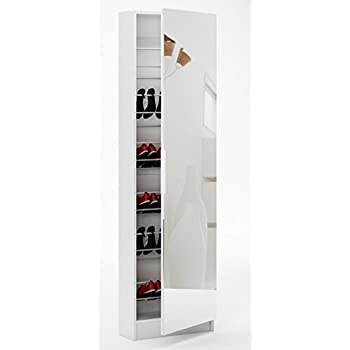 Home Source   Tall Shoe Hallway Cabinet Mirrored 6ft White Glass Front  180cm Shoe Storage Part 31